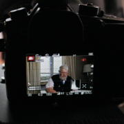 Ian McNeice behind the camera being filmed for Tyca Festival